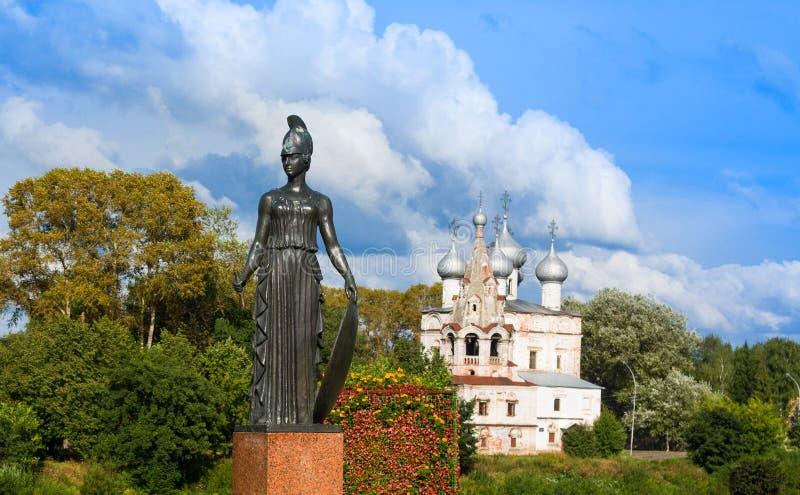 pallas d'Athéna Détail de monument de sculpture au poète russe Konstantin Batyushkov, Vologda, Rus photo stock