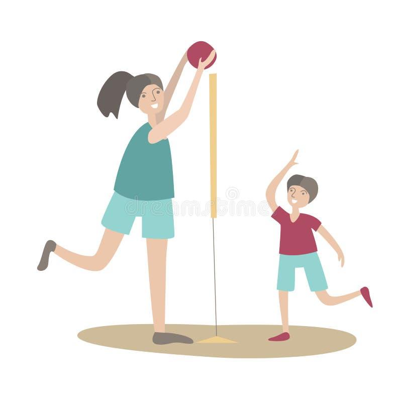 Pallavolo del gioco del figlio e della madre Sport della famiglia e attività fisica con i bambini, ricreazione attiva unita Vetto illustrazione di stock