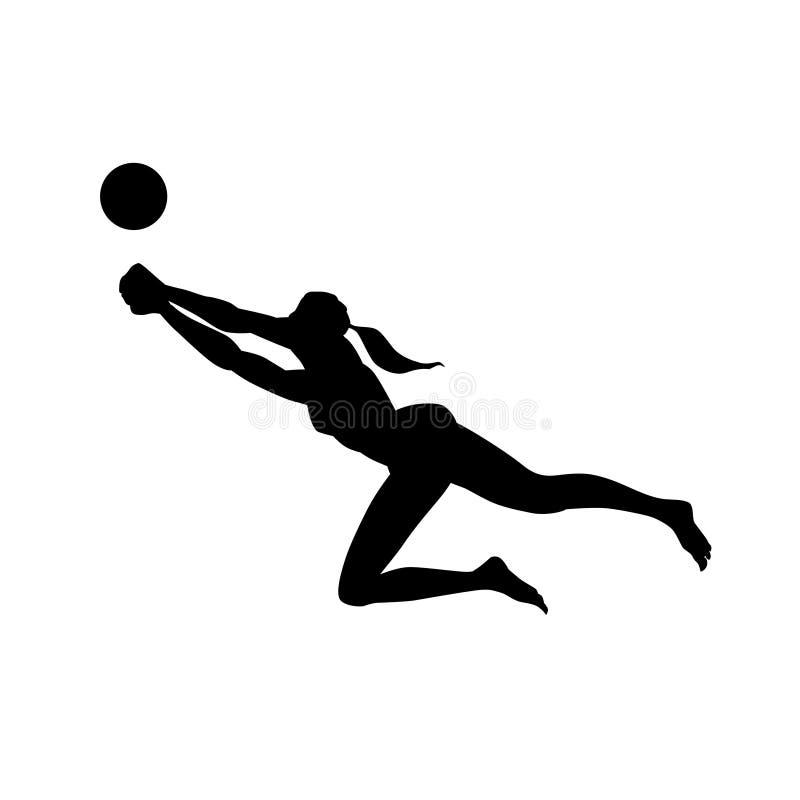 Pallavolo della spiaggia Siluetta femminile isolata su fondo bianco Illustrazione di vettore illustrazione di stock