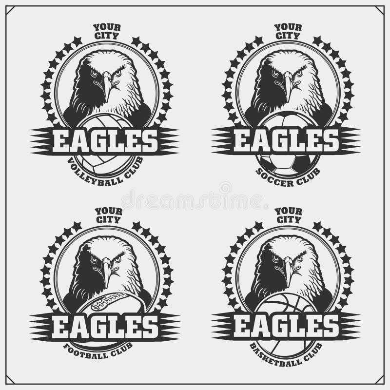 Pallavolo, pallacanestro, calcio e logos ed etichette di calcio Emblemi del club di sport con l'aquila illustrazione vettoriale