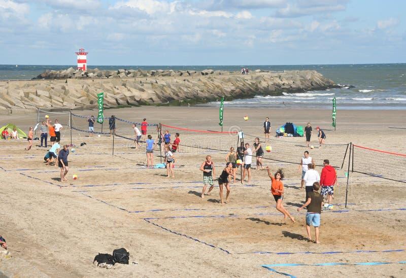 Pallavolo Scheveningen della spiaggia immagini stock libere da diritti