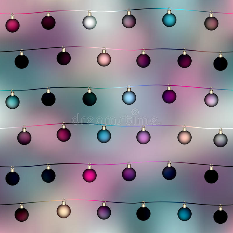 Palle alla moda di Natale sul fondo della sfuocatura illustrazione di stock