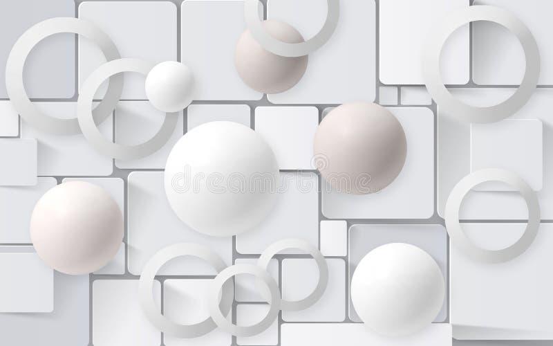 Palle bianche con i cerchi sui precedenti delle mattonelle carte da parati 3D per la rappresentazione interna 3D illustrazione di stock