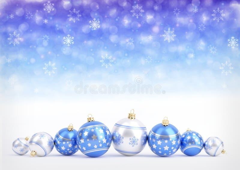 Palle blu di natale sul fondo del bokeh con i fiocchi di neve illustrazione 3D illustrazione di stock