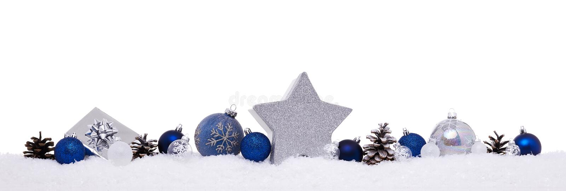 Palle blu e d'argento di natale con i contenitori di regalo attuali di natale fotografia stock