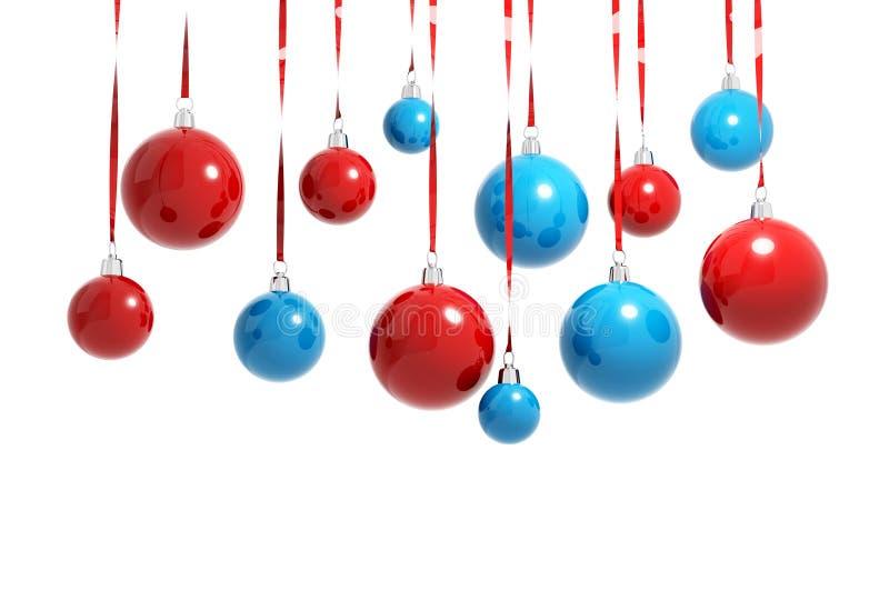 Palle blu e rosse di Natale isolate fotografia stock