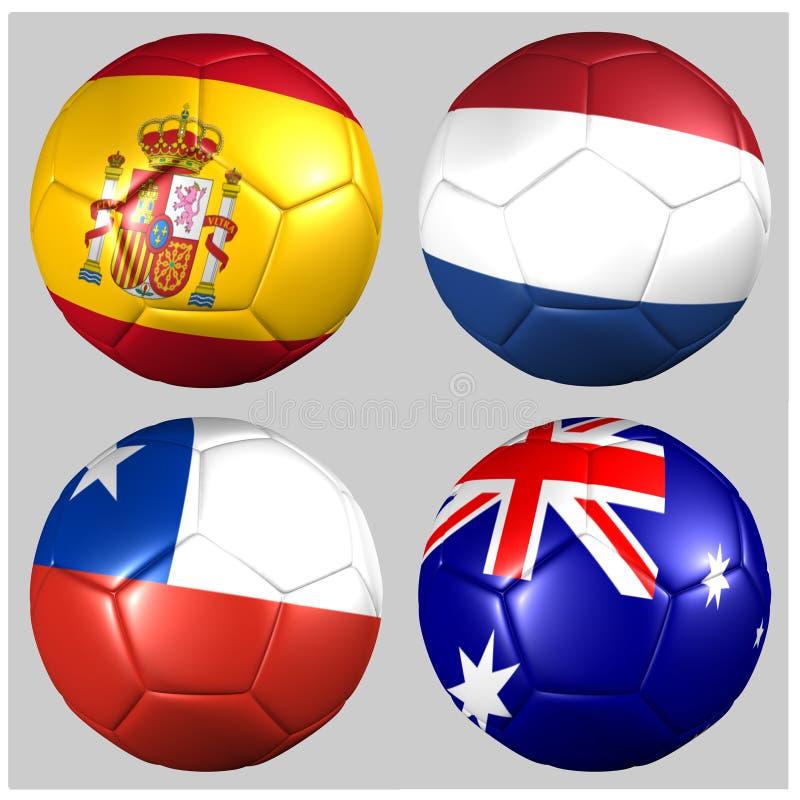 Palle con calcio del gruppo B della coppa del Mondo 2014 delle bandiere royalty illustrazione gratis