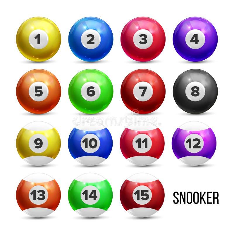Palle da biliardo dello snooker con il vettore dell'insieme di numeri royalty illustrazione gratis