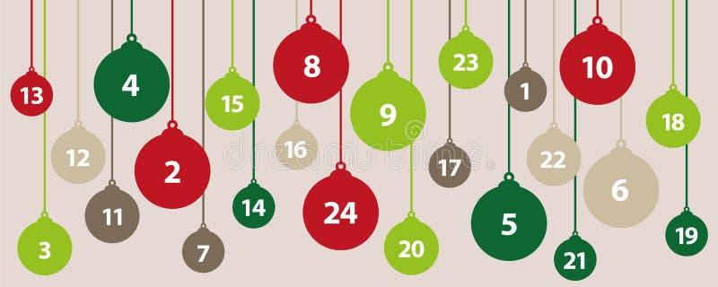 Palle dell'albero di Natale del calendario 24 di arrivo nei colori verdi e rossi illustrazione vettoriale