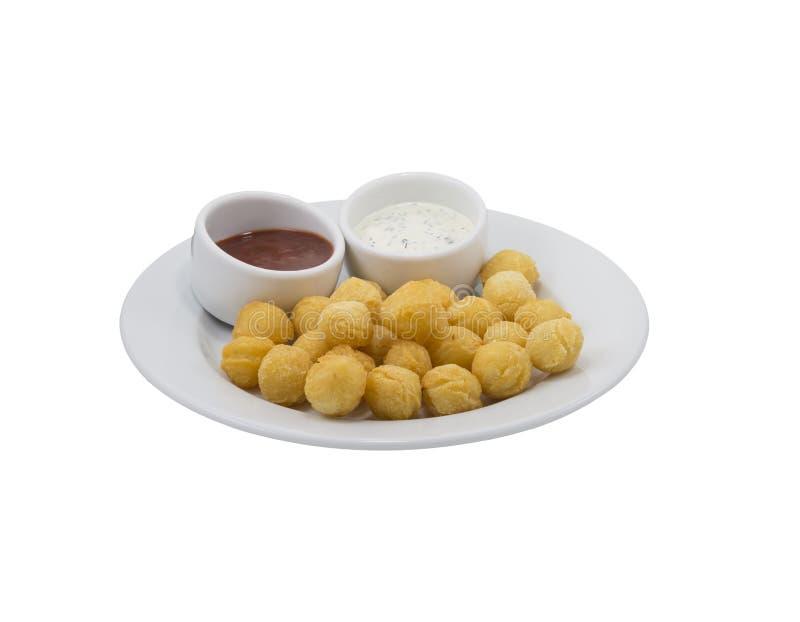Palle della patata con salsa fotografia stock libera da diritti