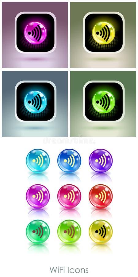 Palle di colore con l'icona di app di simbolo di wifi royalty illustrazione gratis
