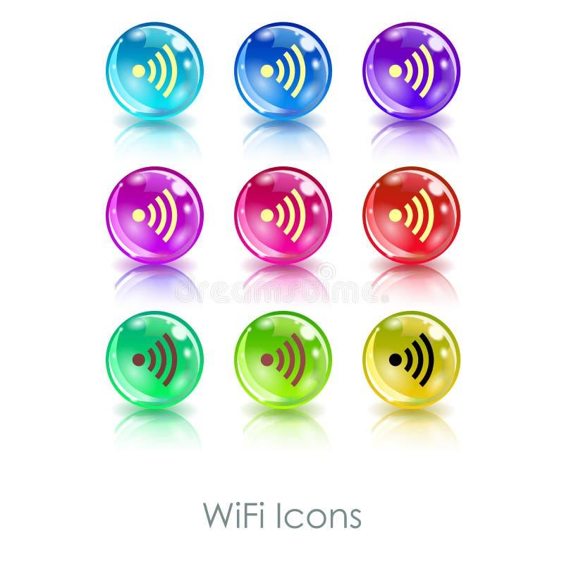 Palle di colore con l'icona di app di simbolo di wifi Utile per i caffè di Wi-Fi, le zone senza fili di Internet, i terminali, ec illustrazione vettoriale