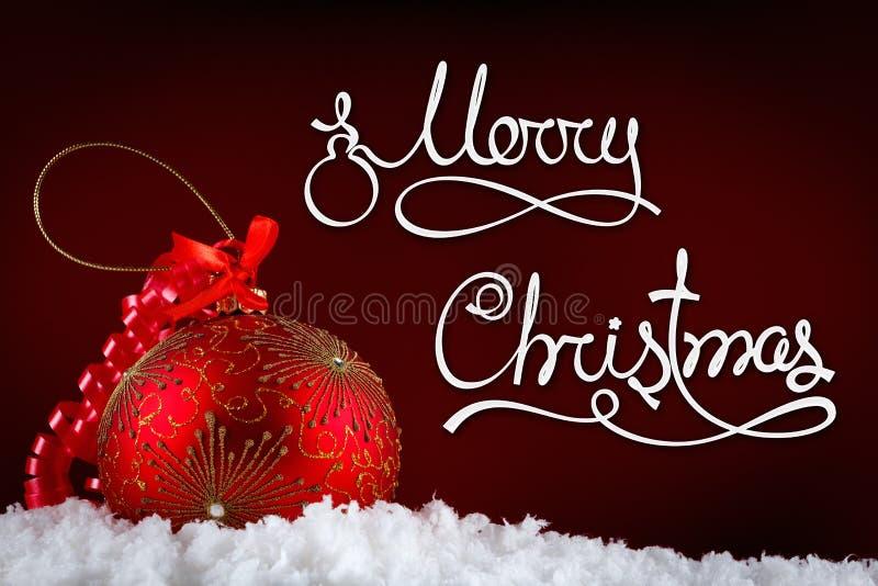 Palle di concetto di Buon Natale in neve, accogliente fotografia stock