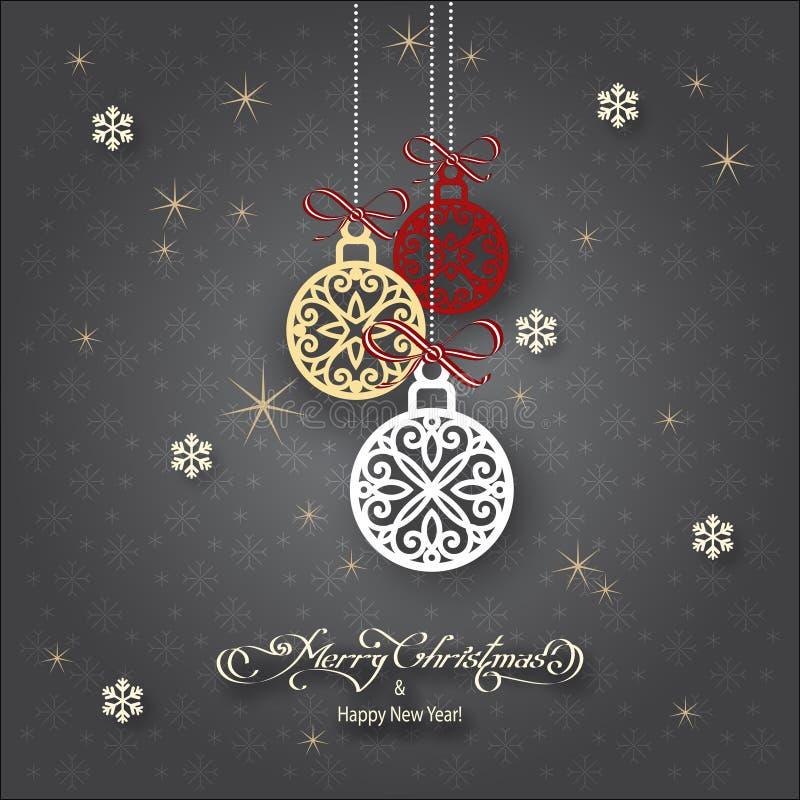 Palle di gray di Natale immagini stock libere da diritti