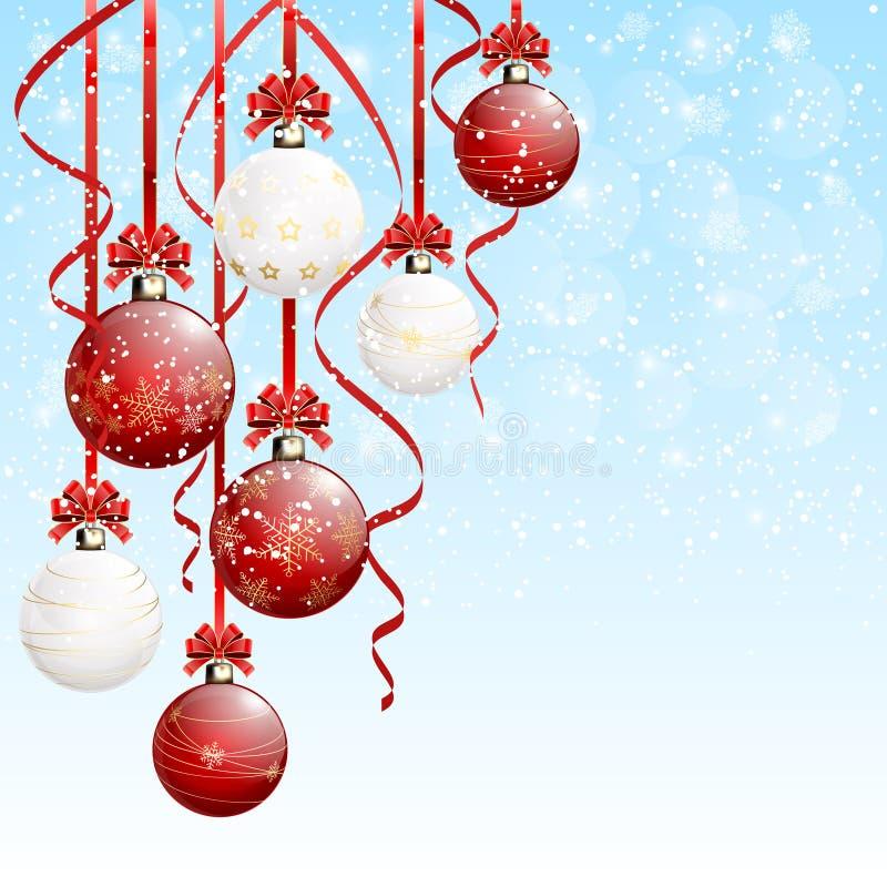 Palle di natale bianco e di rosso su fondo nevoso royalty illustrazione gratis