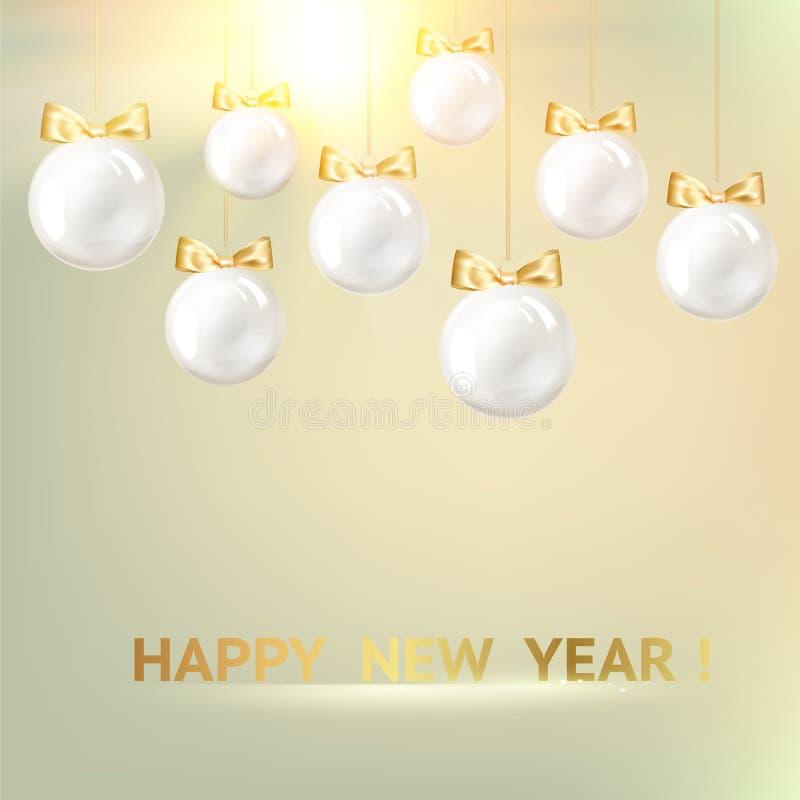 Palle di natale bianco su fondo dorato illustrazione vettoriale