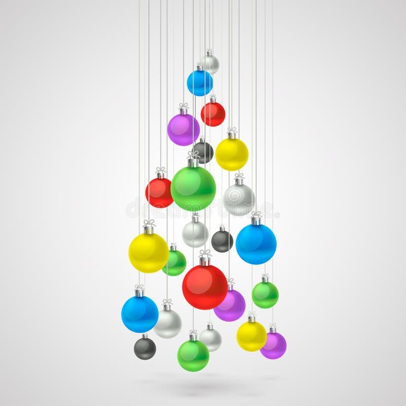 Palle di Natale che appendono in un albero illustrazione vettoriale