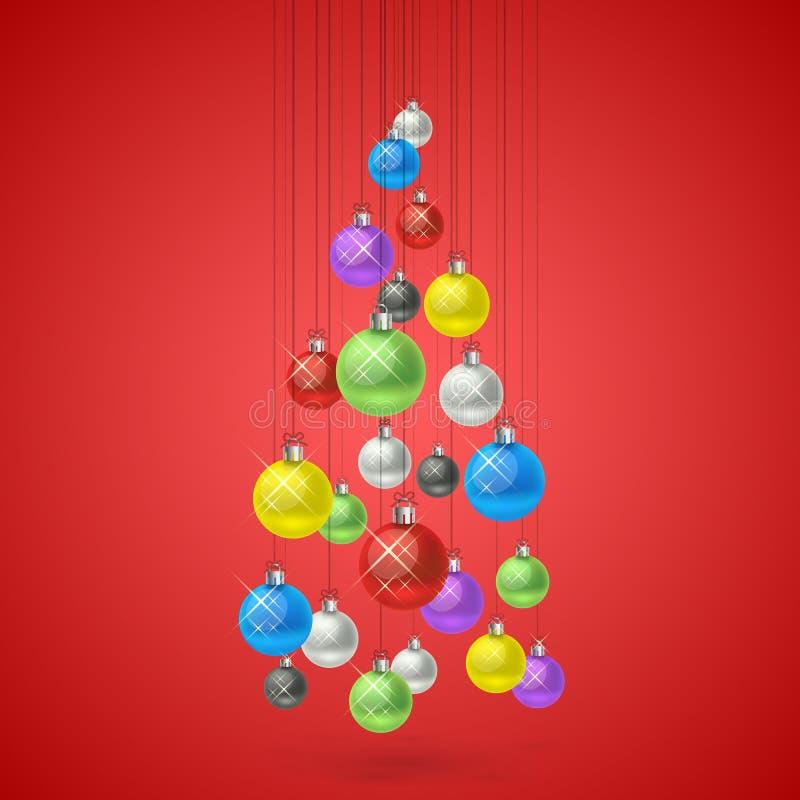 Palle di Natale che appendono in un albero illustrazione di stock
