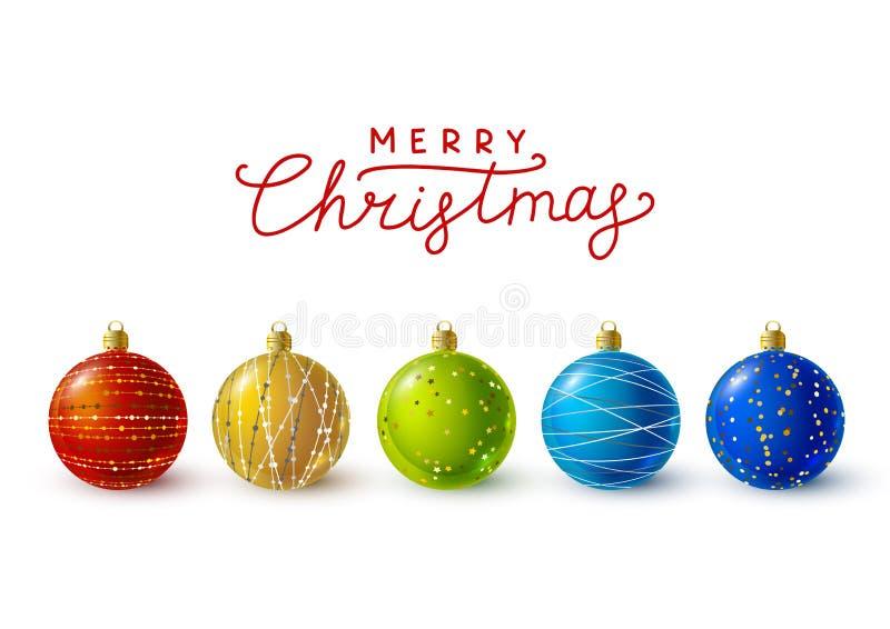 Palle di Natale di colore con le decorazioni dorate illustrazione di stock