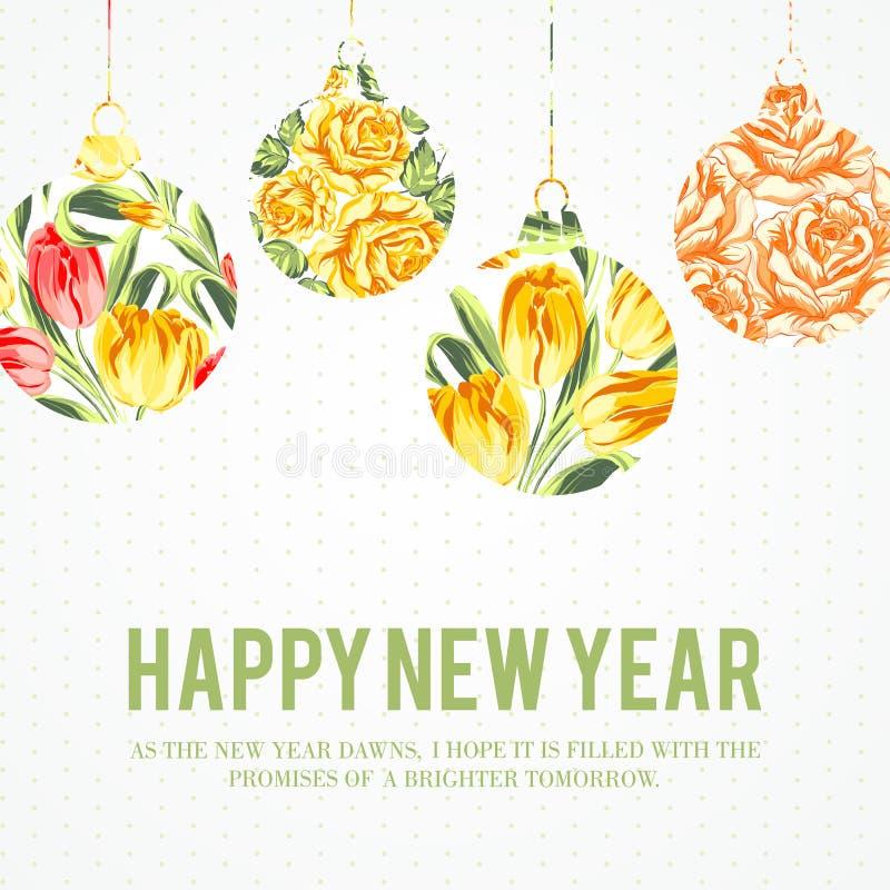 Palle di Natale con i fiori. illustrazione di stock