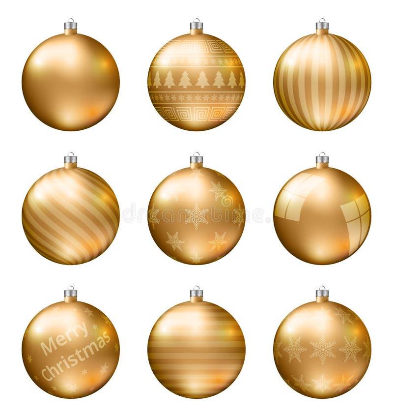 Palle di natale dell'oro isolate su fondo bianco Insieme fotorealistico di vettore di alta qualità delle bagattelle di natale illustrazione di stock