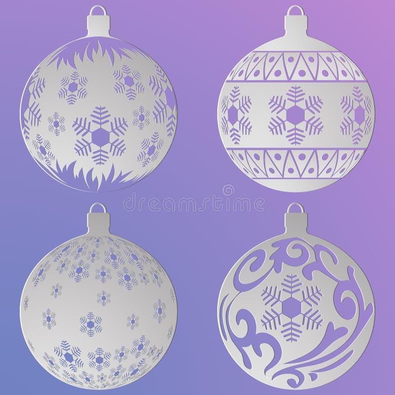 Palle di Natale messe con fiocchi di neve e riccioli, tagliati di carta illustrazione di stock