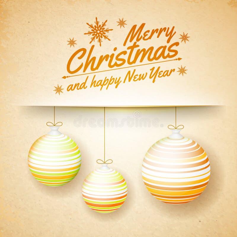 Palle di Natale su un fondo di carta illustrazione di stock