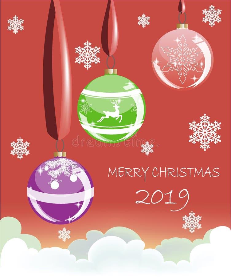 Palle di Natale sui nastri con i fiocchi di neve sui precedenti illustrazione vettoriale