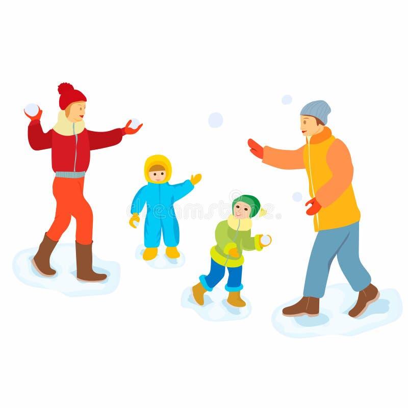 palle di neve di lancio della famiglia felice 3d - illustrazione dei caratteri della gente del fumetto su fondo bianco Concetto d illustrazione di stock