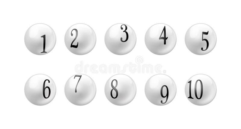 Palle 1 - di numero di lotteria di bingo di vettore insieme 10 isolato su fondo bianco royalty illustrazione gratis