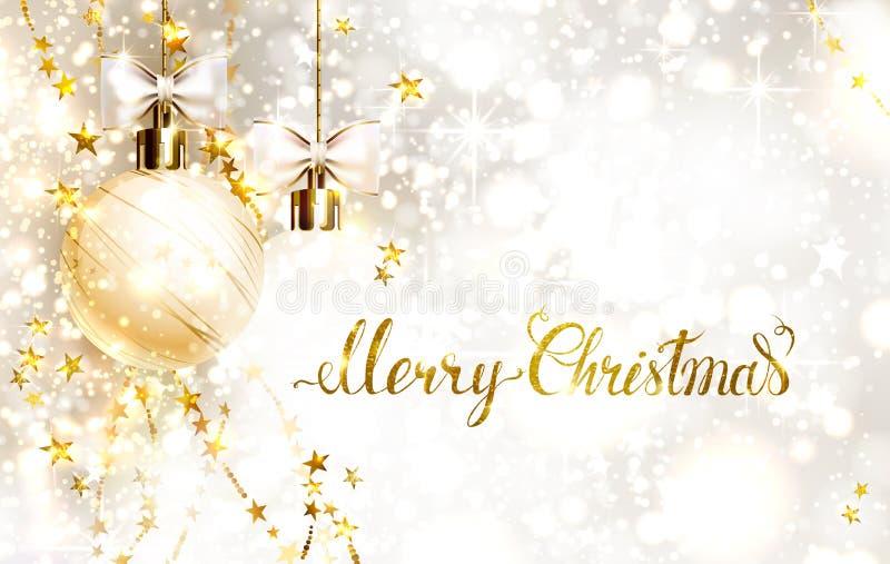 Palle di sera di natale con gli archi e le ghirlande dorate L'iscrizione dell'oro di Buon Natale sul lustro ha baluginato fondo royalty illustrazione gratis