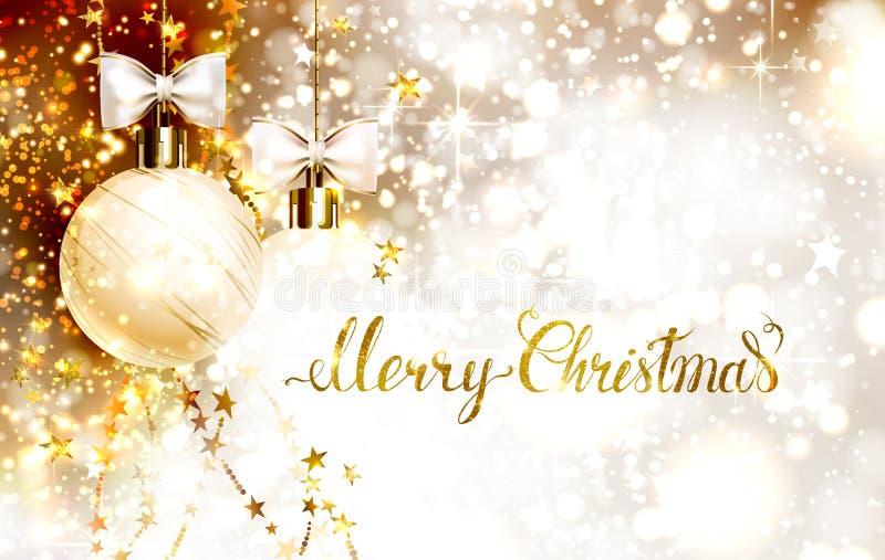 Palle di sera di natale con gli archi e le ghirlande dorate L'iscrizione dell'oro di Buon Natale sul lustro ha baluginato fondo illustrazione vettoriale
