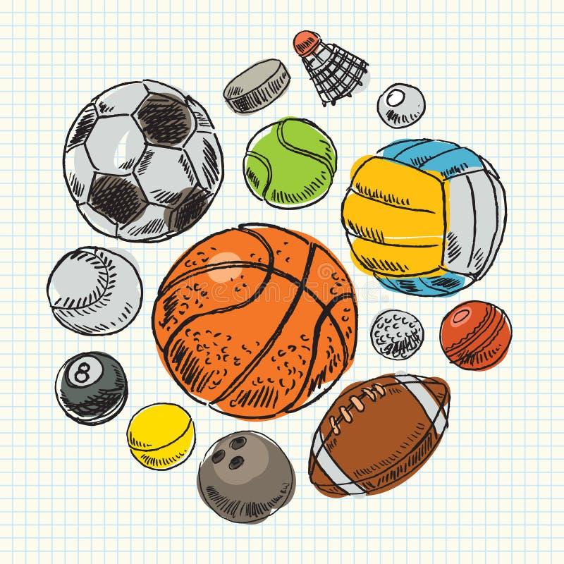 Palle di sport del disegno a mano libera illustrazione di stock