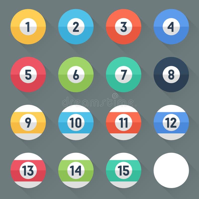 palle di stagno colorate Numeri 1 - 15 e palla zero Stile piano con le ombre lunghe Progettazione d'avanguardia moderna royalty illustrazione gratis