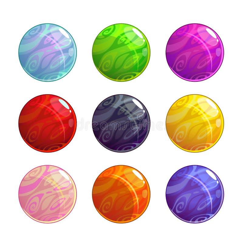 Palle magiche vetrose variopinte di vettore messe royalty illustrazione gratis