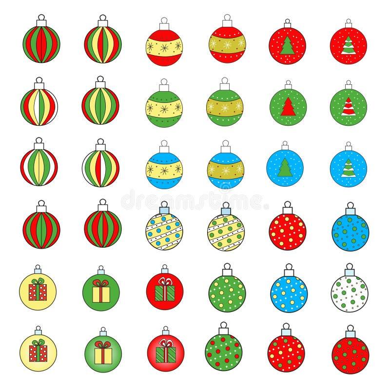Palle per l'albero di Natale dipinto con le decorazioni di Natale fotografia stock