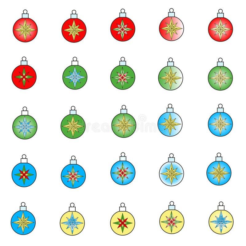 Palle per un albero di Natale dipinto con le stelle fotografia stock