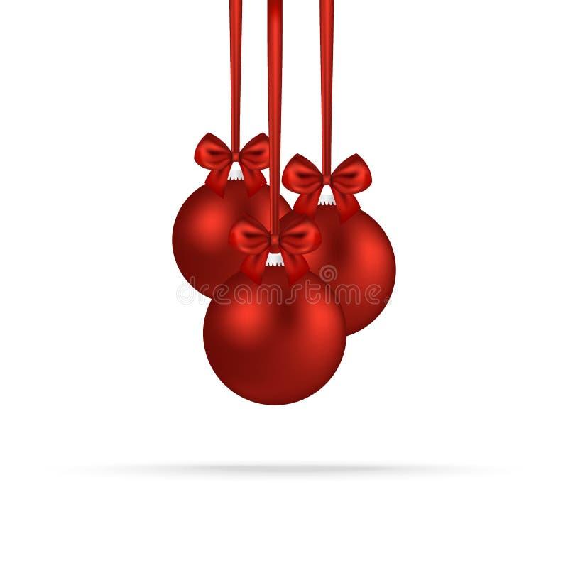 Palle rosse di Natale con gli archi sui nastri illustrazione vettoriale