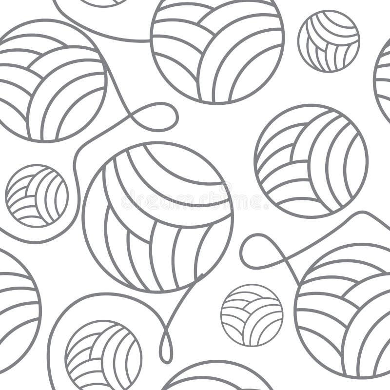 Palle senza cuciture dell'illustrazione senza cuciture di vettore del cucito del fondo dei ferri da maglia e del filato royalty illustrazione gratis