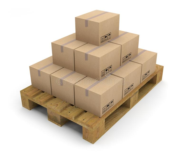 Pallet boxes carton 3D vector illustration