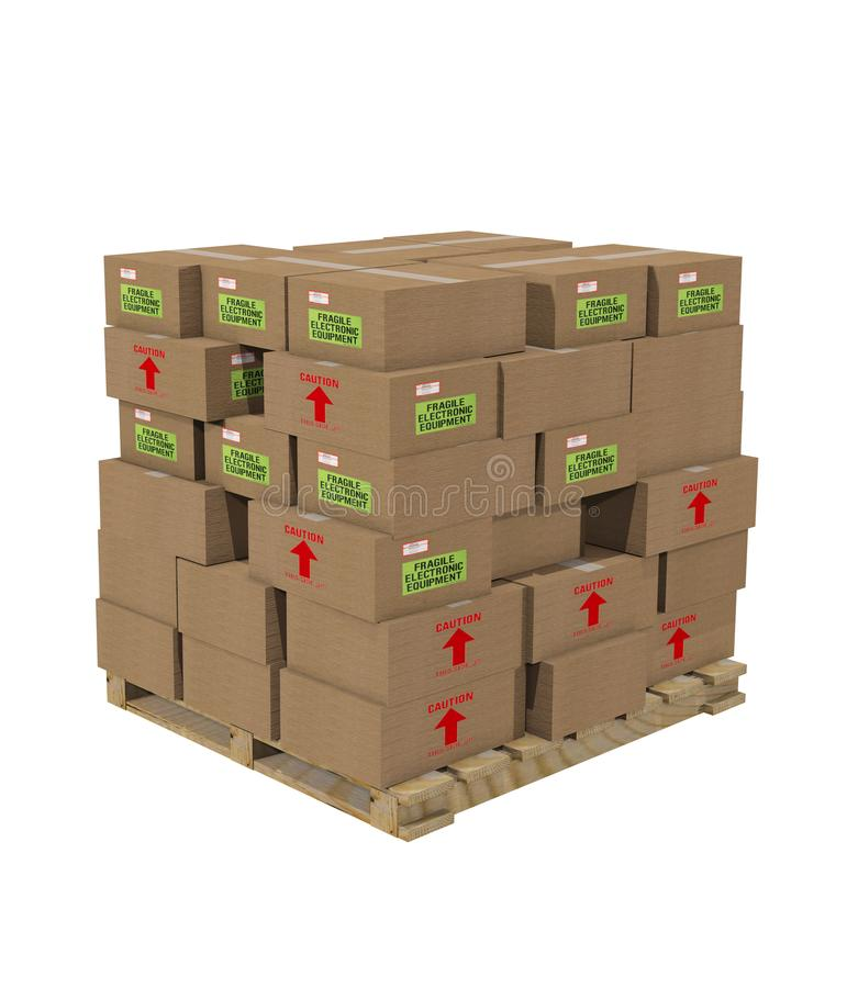 Pallet boxes - cartons packed and ready for shipping. 3d render vector illustration