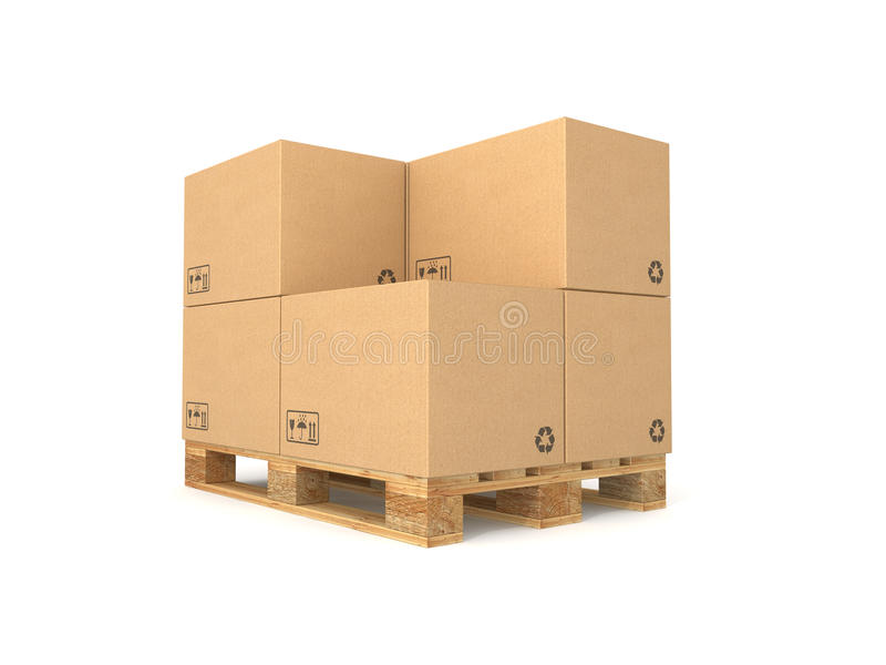 Download Pallet With Cardboard Boxes Stock Illustration - Image: 16685499