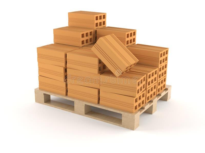 Pallet con i mattoni illustrazione di stock