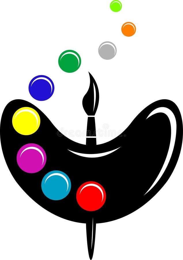 Pallet con i punti della spazzola e di colore del disegno illustrazione vettoriale
