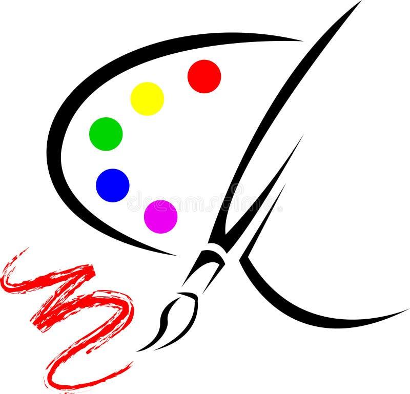 Pallet con la spazzola del disegno royalty illustrazione gratis