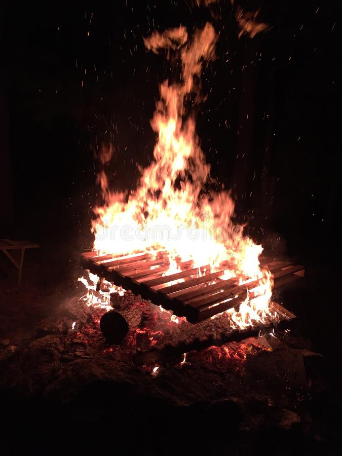 Pallet fire stock images