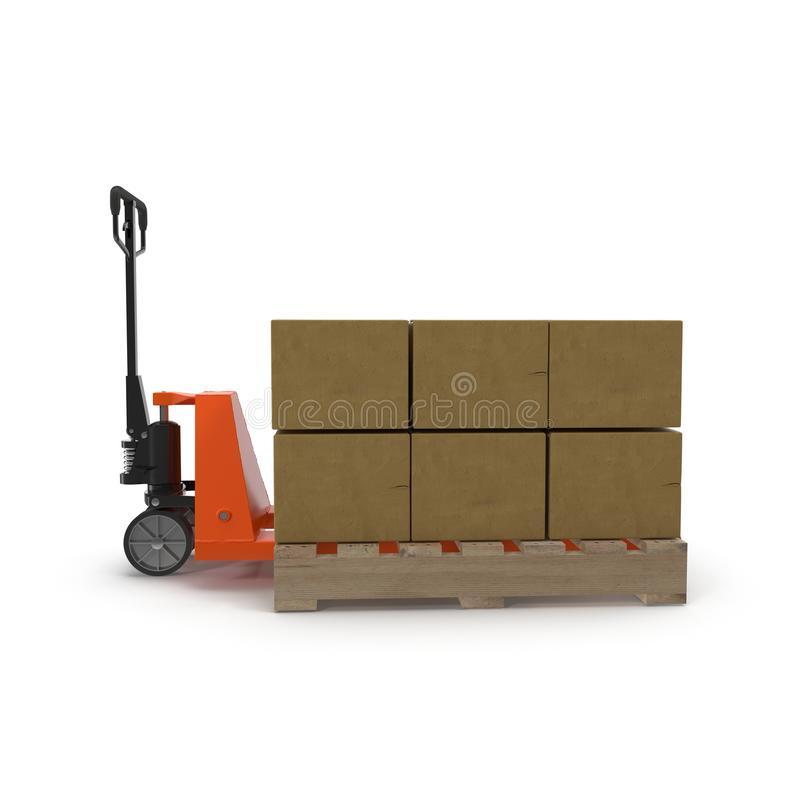 Pallet jack with boxes on pallets 3D illustration. royalty free stock image