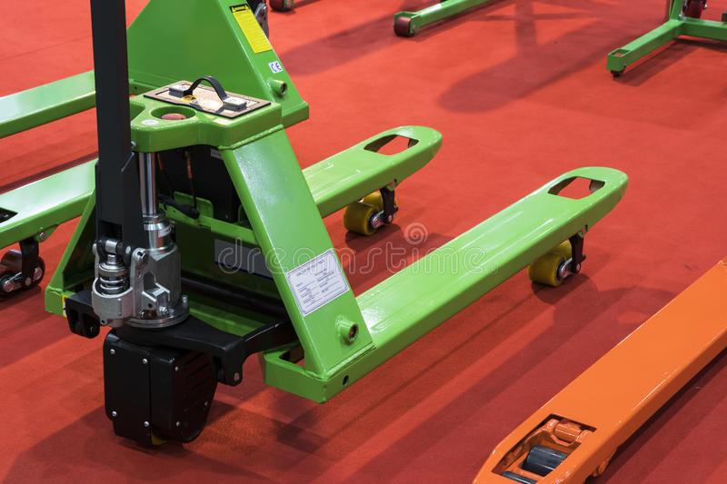 Pallet Jack for warehouse stock images