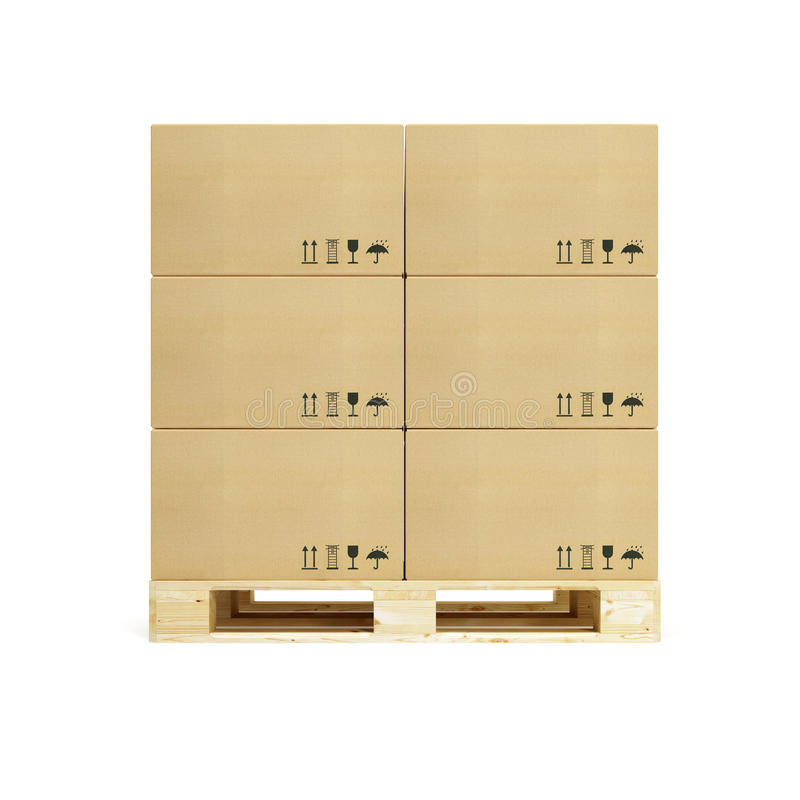 Pallet met kartondozen stock illustratie