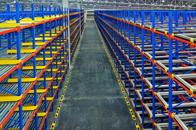 Pallet storage racking system for storage distribution center stock image